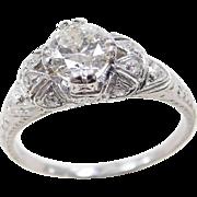Art Deco Platinum 1.07 ctw Diamond Ring
