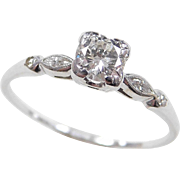 Art Deco 14k White Gold .60 ctw Diamond Ring