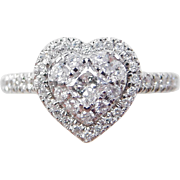 .60 ctw Diamond Heart Ring 14k White Gold