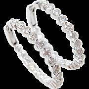 6.50 ctw Diamond 18k White Gold Inside Out Hoop Earrings