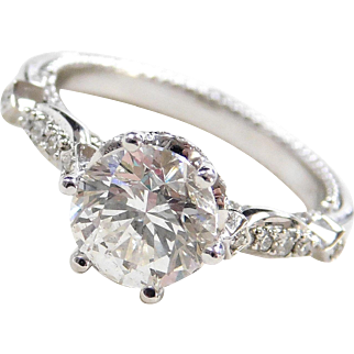 Stunning 14k White Gold 2.54 ctw Diamond Engagement Ring ~ Fancy Detailed Bridge