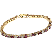 """14k Gold Two-Tone 3.13 ctw Natural Ruby and Diamond Tennis Bracelet ~ 7 1/4"""""""