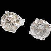 3.21 ctw Diamond Stud Earrings 14k White Gold
