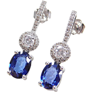 Beautiful 14k White Gold 3.60 ctw Sapphire and Diamond Earrings
