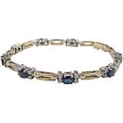 Vintage 14k Gold 3.64 ctw Natural Sapphire and Diamond Bracelet