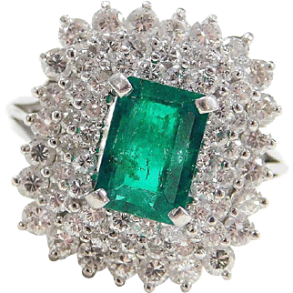 Stunning Platinum 3.76 ctw Natural Emerald and Diamond Ring