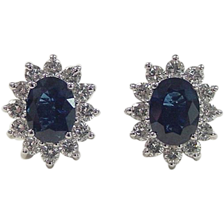 Stunning 18k White Gold 3.76 ctw Natural Sapphire and Diamond Stud Earrings