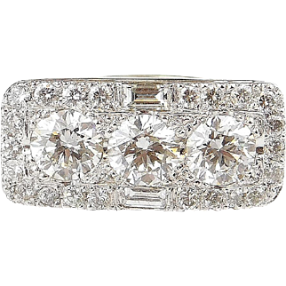 Dazzling Custom Made 14k White Gold GIA 3.65 ctw Diamond Ring ~ Art Deco Inspired