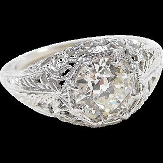 Art Deco Filigree 18k White Gold 1.31 Carat Diamond Engagement Ring