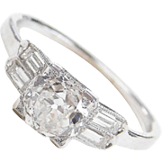 GIA Certified Platinum Art Deco 1.57 ctw Diamond Engagement Ring