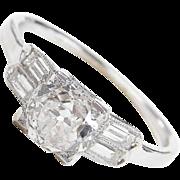 GIA Certified Platinum Art Deco 1.57 ctw Diamond Engagement Ring