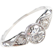 GIA Art Deco Platinum .56 ctw Diamond Engagement Ring