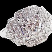 Art Deco 1.40 ctw Diamond Engagement Ring 14k White Gold