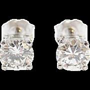 GIA Certified 1.20 ctw Diamond Stud Earrings 14k White Gold