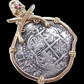 RARE 1653 Bolivia Potosi Mint 4 Reales Shipwreck Coin Pendant with Custom Skull and Crossbones Setting