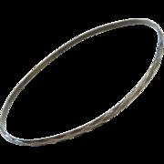 "1960's Sterling Silver Diamond Cut Bangle Bracelet ~ 7.85"" Circumference"