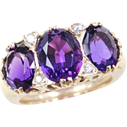 Vintage 14k Gold 4.33 ctw Diamond and Amethyst Ring