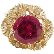 Vintage 14k Gold 4.74 ctw Created Ruby and Faux Diamond Flower Ring
