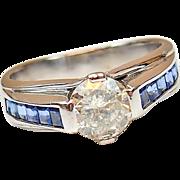 1.01 Carat Diamond and .50 ctw Sapphire Ring 18k White Gold