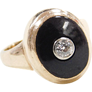 Art Deco 10k Gold Onyx and Diamond Ring