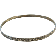"""1960's Sterling Silver Flower and Swirl Detailed Bangle Bracelet ~ 7.85"""" Circumference"""