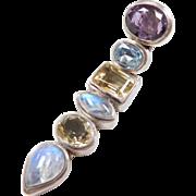 Sterling Silver Long Gemstone Pendant