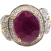 Vintage 14k Gold Two-Tone 6.16 ctw Natural Ruby and Diamond Ring