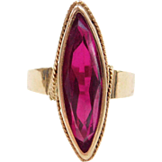 Vintage 18k Gold 7.82 Carat Created Ruby Ring