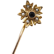 Edwardian 9k Gold Black and White Stick Pin ~ Black Glass and Seed Pearls