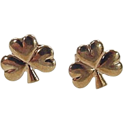 Vintage 9k Gold Three Leaf Clover Stud Earrings ~ Made in Ireland / Irish
