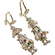 9k Gold From England Jeweled Articulated Clown Earrings