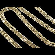 "European 9k Gold Figaro Link Chain ~ 17 3/4"""