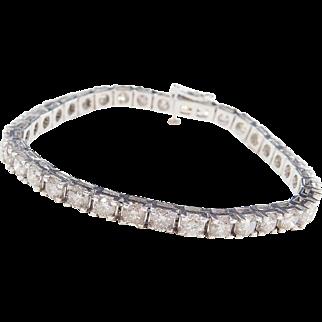 "9.00 ctw Diamond Tennis Bracelet 14k White Gold ~ 7"""