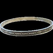 "1960's Sterling Silver Flower Detailed Bangle Bracelet ~ 7.85"" Circumference"