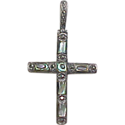 Vintage Sterling Silver Abalone Shell and Marcasite Cross Pendant