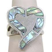 Vintage Sterling Silver Abalone Shell Inlay Heart Ring