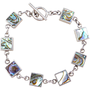 """REVERSIBLE Sterling Silver Abalone Shell and Mother of Pearl Bracelet ~ 7 1/4"""""""