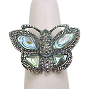 Vintage Sterling Silver Abalone and Marcasite Butterfly Ring