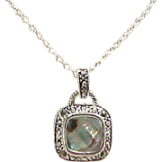 Vintage Sterling Silver Abalone Necklace