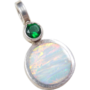 Sterling Silver Green Glass, Opal and Abalone Shell Reversible Pendant