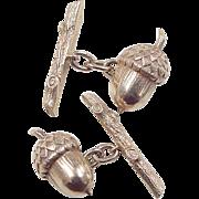 Vintage 14k Gold Gents Acorn and Oak Branch Cuff Links
