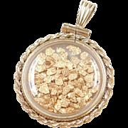 Vintage 24k Gold Alaskan Nugget Pendant ~ 12k Gold Filled Bezel