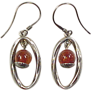 Vintage Sterling Silver Amber Earrings