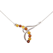 Sterling Silver Colorful Amber Necklace