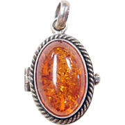 Sterling Silver Amber Pill / Poison Locket Pendant