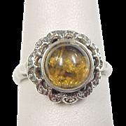 Vintage Sterling Silver Amber Ring