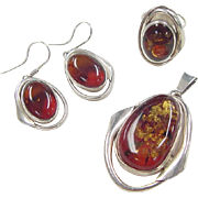 Vintage Sterling Silver Amber Set ~ Earrings, Pendant and Ring
