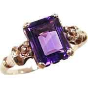 Edwardian 10k Gold Amethyst Ring with Flower Setting