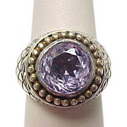 Vintage Sterling Silver Amethyst Ring