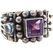 Sterling Silver Amethyst and Blue Topaz Ring